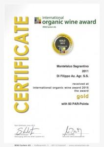 Certificate Bioweinpreis 2015 Sagrantino 2011